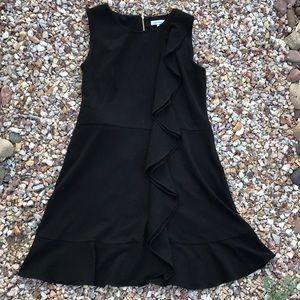 Calvin Klein black ruffled dress